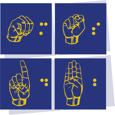 Visual 1 MSDB Logo 4 blue boxes featuring yellow fingerspelling and braille. Montana School for the Deaf and the Blind written next to the boxes.