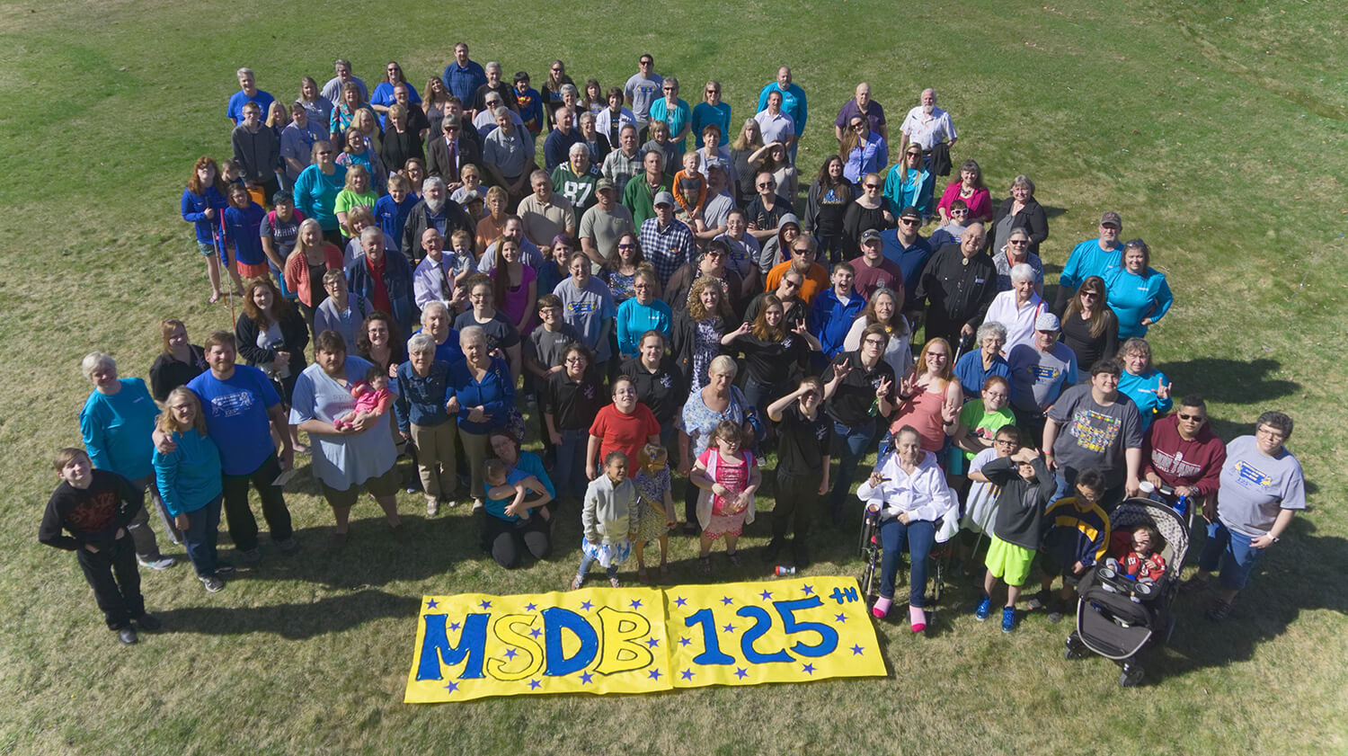 large group (100+ people) picture from MSDB's 125th Anniversary